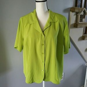 Lime/neon green short sleeve button up 18/20W